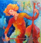 Violins Paintings - Swinging at Club 135 by Susanne Clark