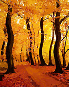 Yellow Pastels Prints - Swinging Autumn Print by Stefan Kuhn