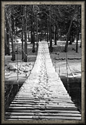 Wood Planks Metal Prints - Swinging Cable Foot Bridge Metal Print by John Stephens