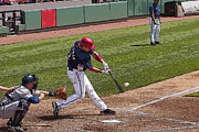 Nationals Baseball Framed Prints - Swinging For the Fences 2 Framed Print by Michael Clubb