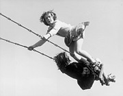 Child Swinging Art - Swinging High by Fred Morley
