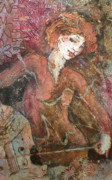 Collagraph Prints - Swinging Red Head Print by Susanne Clark