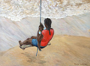 Swing Paintings - Swinging with mom by Vaughn Tucker