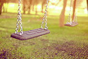 Park Scene Photo Prints - Swings In Park Print by Rob Webb