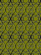Green Color Art - Swirl Pattern On Green Background by Lana Sundman