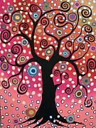Karla G Paintings - Swirl Tree In Bloom  by Karla Gerard