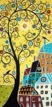 Black Birds Posters - Swirl Tree Two BIrds And Houses Poster by Karla Gerard