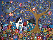 Swirl Painting Framed Prints - Swirl Tree Village Framed Print by Karla Gerard