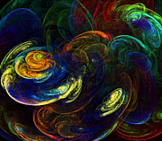 Storm Digital Art Metal Prints - Swirling Storms Metal Print by Ricky Barnard