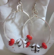 Abstract Jewelry - Swirls in Black and White Earrings by Janet  Telander