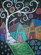Houses Pastels Posters - Swirly Birch Poster by Karla Gerard