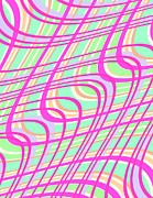 Motif Digital Art Prints - Swirly Check Print by Louisa Knight