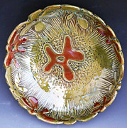 Round Ceramics - Swirly Flower Scalloped Bowl by Patty Sheppard