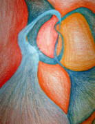 Bright Colors Drawings Metal Prints - Swirly Opposites Metal Print by Jera Sky