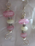 Science Fiction Jewelry - Swirly Pink Planets Earrings by Janet  Telander