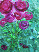 Acrylic Art Reliefs Prints - Swirly Roses Print by Ruth Collis