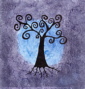 Kpappert Posters - Swirly Tree with Alcohol Inks Poster by Karen Pappert