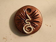 Paint Jewelry - Swirly White on Copper Pendant by Megan Brandl