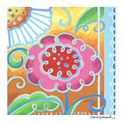 Flower Design Painting Framed Prints - Swirly World Framed Print by Renee Womack