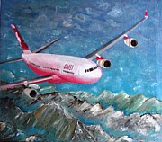 Boeing Paintings - Swiss Air boeing over Alpi by Roberto Lacentra