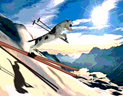 Ski Racing Paintings - Swiss Alps by Jann Paxton