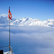 Railing Prints - Swiss Alps Panorama Print by Image by Christian Senger