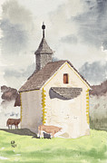 Swiss Painting Originals - Swiss Chapel and Cows by Ernst Arnold