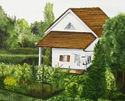 Switzerland Painting Originals - Swiss Country Home by Laura Evans