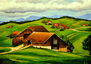 Switzerland Painting Originals - Swiss countryside by Ambika Jhunjhunwala