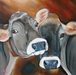 Bull Painting Framed Prints - Swiss Misses Framed Print by Laura Carey