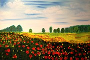 Swiss Painting Originals - Swiss Poppies by Valerie Ornstein