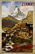 Zermatt Framed Prints - Swiss Travel Poster, 1898 Framed Print by Granger
