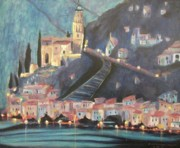 Switzerland Paintings - Switzerland by Night by Suzanne  Marie Leclair