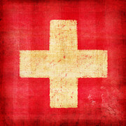 Red Abstract Art Prints - Switzerland flag Print by Setsiri Silapasuwanchai