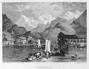 1833 Framed Prints - Switzerland: Interlachen Framed Print by Granger