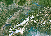 Alps Images Posters - Switzerland, Satellite Image Poster by Planetobserver