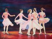 Ballet Dancers Paintings - Swivel Circle Spin Whirl and Twirl by Deb Magelssen