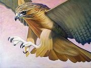 Birds Of Prey Paintings - Swoop by Brian  Commerford