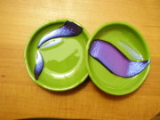 Purple Glass Art - Swoop Duo of Mini Bowls by Michele Palenik