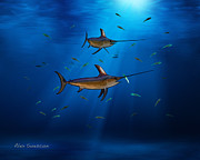 Sailfish Drawings Posters - Swordfish Moon Poster by Alex Suescun