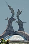 Rooftop Framed Prints - Swordfish Sculpture Framed Print by DigiArt Diaries by Vicky Browning