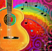 Notes Digital Art - SXSW Musical Guitar fantasy painting print by Svetlana Novikova