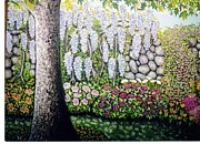 Perennials Painting Posters - Sycamore Garden Poster by William Ohanlan