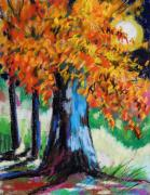 Autumn Landscape Drawings Framed Prints - Sycamore Moon Framed Print by John  Williams