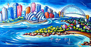 Harbour Painting Framed Prints - Sydney Harbour Framed Print by Deb Broughton