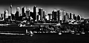 Sydney Harbour Prints - Sydney Harbour monochrome Print by Sheila Smart