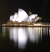 Sydney Photographs Posters - Sydney Opera House at Night Poster by Jessica Estrada
