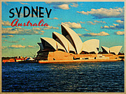 Harbour Digital Art Prints - Sydney Opera House Australia Print by Vintage Poster Designs