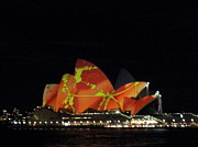 Sydney Photographs Framed Prints - Sydney Opera House color festival Framed Print by Swati