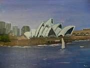 High Rise Paintings - Sydney Opera House by Pamela  Meredith